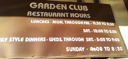 Menu Price List for Garden Club Restaurant YLocale